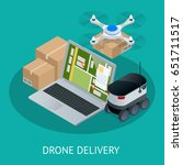 isometric drone fast delivery... | Shutterstock .eps vector #651711517
