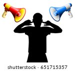 noise disturbance by two loud... | Shutterstock .eps vector #651715357