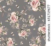 Seamless Rose Pattern And...