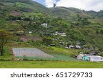 mountains with crops and houses ... | Shutterstock . vector #651729733