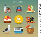 funny travel icons set 7 | Shutterstock .eps vector #651735067