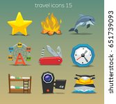 funny travel icons set 15 | Shutterstock .eps vector #651739093