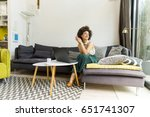 young woman with curly hair ...   Shutterstock . vector #651741307