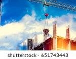 construction site  crane and... | Shutterstock . vector #651743443
