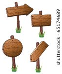 set of wooden road signs | Shutterstock .eps vector #65174689