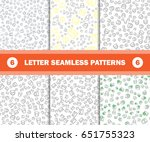 set of seamless pattern with... | Shutterstock .eps vector #651755323