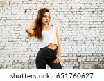 beautiful young woman in a... | Shutterstock . vector #651760627