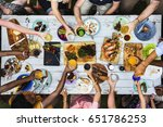 barbeque cooking outdoor... | Shutterstock . vector #651786253