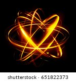 3d atom icon. luminous nuclear... | Shutterstock . vector #651822373