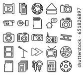 media icons set. set of 25... | Shutterstock .eps vector #651826897