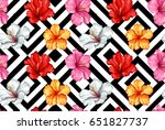 vector tropical leaves and... | Shutterstock .eps vector #651827737