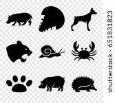 wildlife icons set. set of 9... | Shutterstock .eps vector #651831823