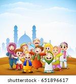 vector illustration of happy... | Shutterstock .eps vector #651896617
