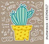 cute cactus in plant pot vector  | Shutterstock .eps vector #651906517