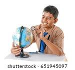 indian school boy observing...   Shutterstock . vector #651945097