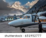 airplane at lukla airport in... | Shutterstock . vector #651952777
