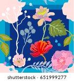 night summer garden. silk scarf ... | Shutterstock .eps vector #651999277
