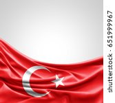 turkey flag of silk with... | Shutterstock . vector #651999967