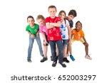 group of children posing... | Shutterstock . vector #652003297