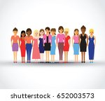 women in a line | Shutterstock .eps vector #652003573