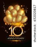 10 anniversary logo celebration ... | Shutterstock .eps vector #652020817