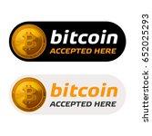 bitcoin accepted sign emblem | Shutterstock .eps vector #652025293