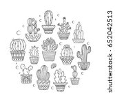 cute hand drawn vector cactuse... | Shutterstock .eps vector #652042513