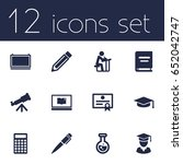 set of 12 education icons set... | Shutterstock .eps vector #652042747