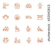 set of 16 family outline icons... | Shutterstock .eps vector #652042813