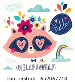 vector illustration with cute... | Shutterstock .eps vector #652067713