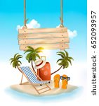 beach with palm trees and... | Shutterstock .eps vector #652093957