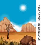Desert Scene With Canyons And...