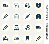 antibiotic icons set.... | Shutterstock .eps vector #652110343