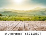 wooden table top with the... | Shutterstock . vector #652110877