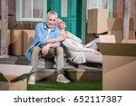 happy senior couple sitting...   Shutterstock . vector #652117387