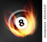 billiard ball in fire realistic.... | Shutterstock . vector #652141147