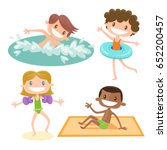 set of isolated cartoon kids... | Shutterstock .eps vector #652200457