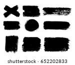 set of black paint  ink brush... | Shutterstock .eps vector #652202833