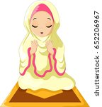 muslim girl sitting on the... | Shutterstock .eps vector #652206967