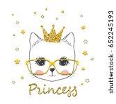 princess cat. cute little... | Shutterstock .eps vector #652245193