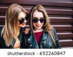 fashion portrait of two  pretty ...   Shutterstock . vector #652260847