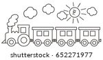 Train  Coloring Page  Vector...