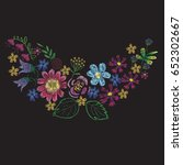 tropical detailed embroidery... | Shutterstock .eps vector #652302667