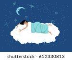 happy woman sleeping on a cloud ...   Shutterstock .eps vector #652330813