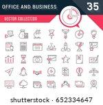set vector line icons in flat... | Shutterstock .eps vector #652334647