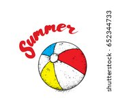 multicolored beach ball. vector ... | Shutterstock .eps vector #652344733