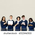 group of diverse students using ... | Shutterstock . vector #652346503