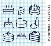 set of 9 cupcake outline icons... | Shutterstock .eps vector #652347163