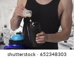 weight gain. man put whey... | Shutterstock . vector #652348303