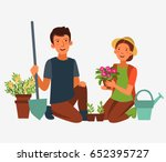young  happy couple gardening.... | Shutterstock .eps vector #652395727